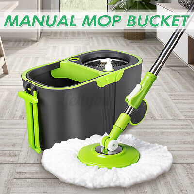 360° Spin Floor Mop Rotating Bucket Set with Wheel Home Cleaning Microfiber Head