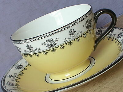 Antique 1910's Aynsley England bone china black & yellow tea cup teacup saucer