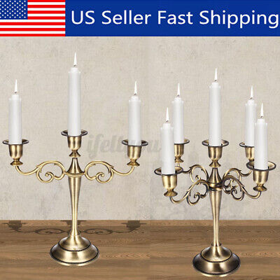 3/5 Arms Metal Crafts Candelabra Alloy Candle Holder Stand Wedding Home  US
