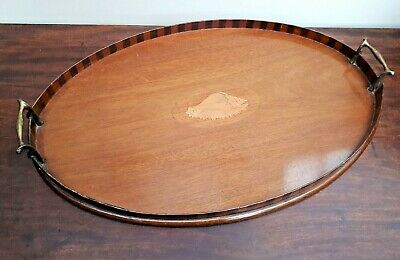 Antique Edwardian Mahogany Serving Tray Conch Shell Inlaid Brass Handles c1900