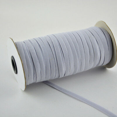 """6mm 200yards/Roll 1/4"""" Flat Elastic Cord Knit Braided Sewing Bands Ropes White"""