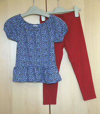 NEXT Girls Blue Animal Print Top & Red Leggings Age 4 Years BNWT