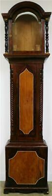 Antique English 19thc Mahogany & Walnut Longcase Grandfather Clock Case