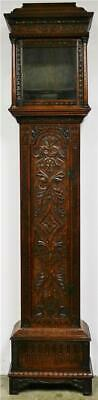 Antique Carved Solid English Oak 18thc Caddy Top Longcase Grandfather Clock Case