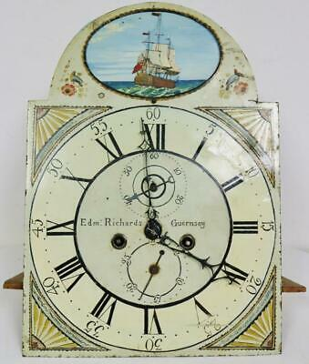 Antique English Painted Dial Rocking Ship Longcase Grandfather Clock Movement