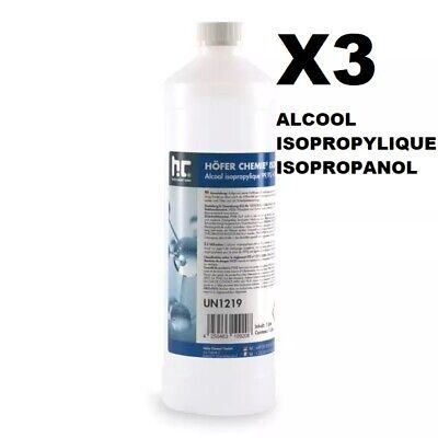 X3 1Litre | Pure | Alcool Isopropylique 99.9% / Isopropanol | Ipa | 3L