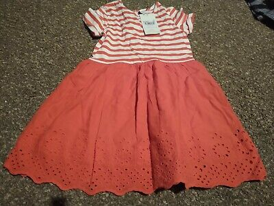 Girls BNWT TU Red/white T-Shirt Style Top with Cotton Skirt Dress Age 4-5 Years