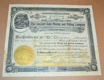 The Ancient Gold Mining and Milling Company 1910 antique stock certificate