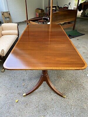 Regency Style Cross Banded Mahogany Double Pedestal Dining Table