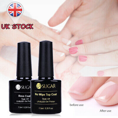 Gel Nail Polish No Wipe Top & Base Coat for Manicure & Pedicure UR SUGAR-UK