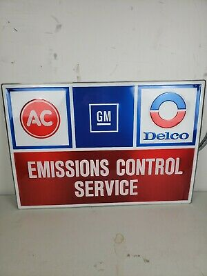 "Vintage AC Delco GM Emissions Control Service 34.5""x24""  Embossed Metal Sign"