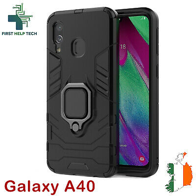 Samsung Galaxy A40 Case Hybrid Cover Rugged Armor Shockproof Magnet Ring Holder