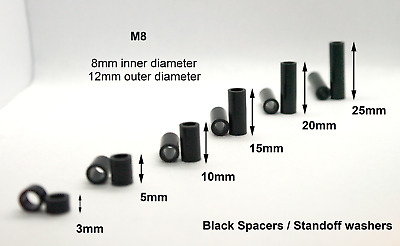 M8 Black Spacers. Nylon, cylindrical, standoff washers / collars. Length 3- 25mm