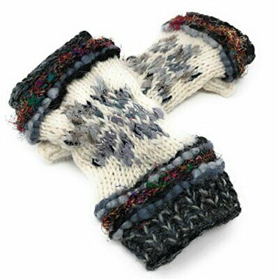 Snowflake Lined Cable Knit Fingerless Gloves Thumb Hole Mittens (Grey)