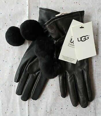 🌟NWT🌟 Ugg Smart Leather Brita Gloves 💚TECH COMPATIBLE💚 Black Sz S Org $130