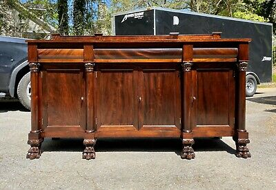 American Classical Empire Revival Mahogany Sideboard with Paw Feet