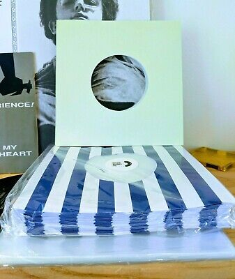 100 RECORD SLEEVES FOR 7″ VINYL - BLUE STRIPES+YELLOW PAPER+ CLEAR OUTERS 45RPMs