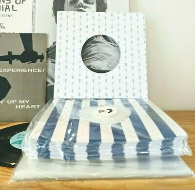 100 RECORD SLEEVES FOR 7″ VINYL - BLUE STRIPES+ARROWS PAPER+ CLEAR OUTERS 45RPMs