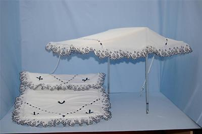 Baby Pram Canopy set to fit coach built silver cross prams in white with Navy