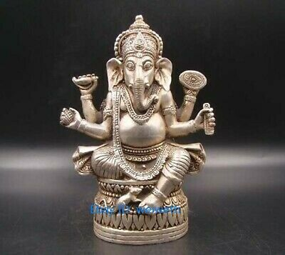 Collectible tibet Silver Handmade Carving Elephant Buddha Statue