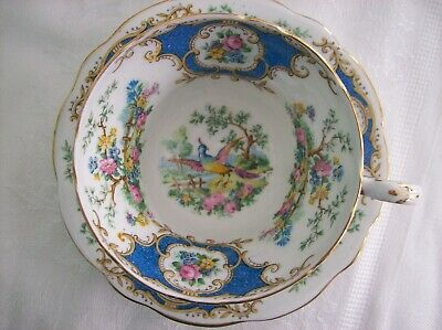 FOLEY - E. Brain CUP & SAUCER-  BROADWAY- Blue designs with Flowers and Birds
