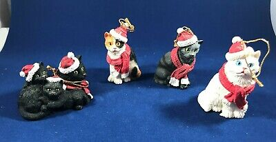 4 Resin  Cat Ornaments, Different Cats In Santa Hats And Scarves!