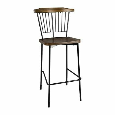 Bolero Scandi High Stools in Black - Stainless Steel & Wood - Pack of 2