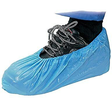 20 (10 PAIRS) Medical Disposable BLUE CPE Plastic Overshoes Shoe Boot Covers