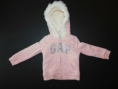 NWT Gap Toddler Girl's Faux Fur Sherpa Hoodie Gap Logo Pink 3Yrs MSRP $40 New