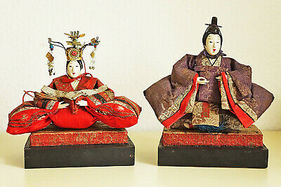 Two old Japanese Hina Dolls - Emperor and Empress - Edo/Meiji period