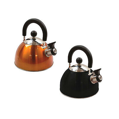 NEW 2L DELUXE LIGHTWEIGHT STAINLESS STEEL WHISTLING CAMPING KETTLE ORANGE