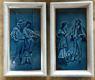ANTIQUE 19th CENTURY PAIR OF FRAMED TILES. CRAVEN DUNNILL. COURTING COUPLES