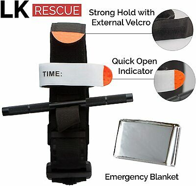 New Tourniquet Premium Trauma Kit with Emergency Blanket by LK Rescue