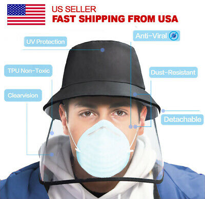 Uni-Sex Safety Face Shield Protective Bucket Hat, Anti Spitting and Anti Saliva