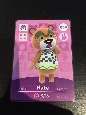Animal Crossing Amiibo Card - Nate 059 - New And Never Scanned