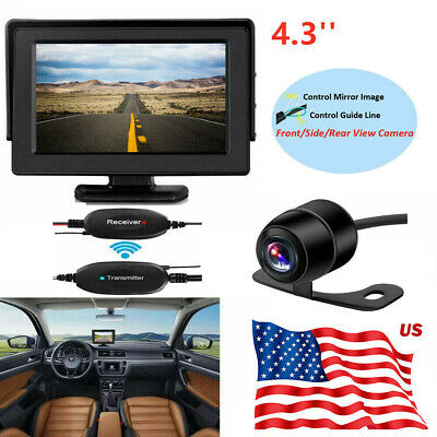 """Wireless Rear View Back up Camera Night Vision+4.3"""" Monitor Car View System US"""