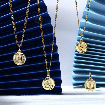 """18"""" New Gold Plated Initial Letter Necklace Pendant Stainless Steel Figaro Chain"""