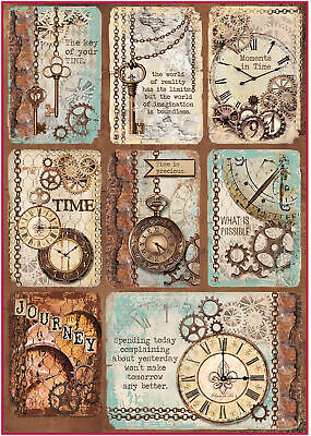 STAMPERIA A4 Decoupage Rice Paper Packed Clockwise clock and keys*Specialty Pape