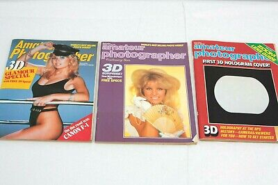 lot 3x 3-d/stereo AMATEUR PHOTOGRAPHER magazines, vintage 1980s, hologram 3d
