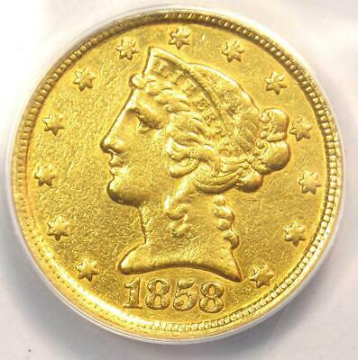 1858-C Liberty Gold Half Eagle $5 - ANACS XF40 Detail - Rare Charlotte Gold Coin