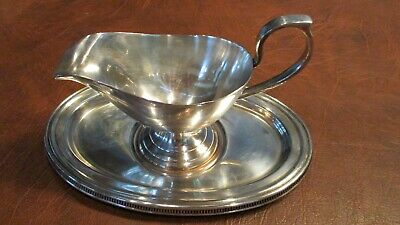 Vintage Silver Plated 2 Piece Gravy Boat AND Tray