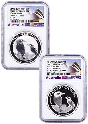 2017 P Australia 1 oz Silver Kookaburra 2 Coin Set NGC MS70+PF70 Early Release