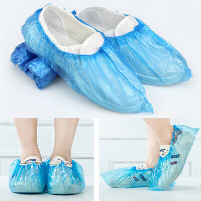 100Pcs Plastic Waterproof Disposable Shoe Covers Blue Shoe Covers Overshoes Boot