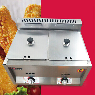 Commercial 2 Pans Gas Steam Table Food Warmer Kitchen Gas Fryer Steamer USA