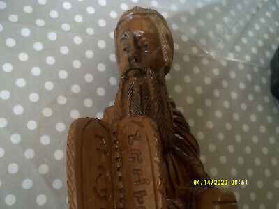 vintage large wood carved chinese schooler 10 inches high 3 inches wide