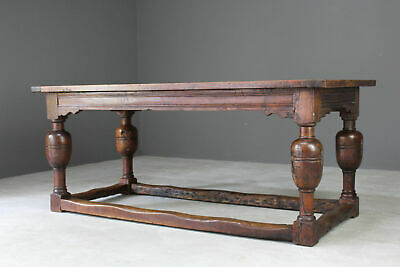 Antique Rustic Oak Refectory Dining Country Kitchen Table
