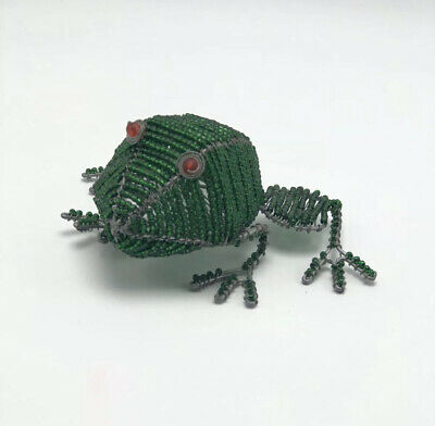 Green Beaded Frog Wire Beads Wired Handcrafted Artisan