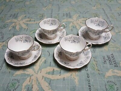 4) ROYAL ALBERT Cup & Saucer Sets SILVER MAPLE **Excellent**