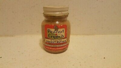 Trial Size Peanut Crunch Brand Peanut Butter 2 Oz. Glass Jar Nos Unopened