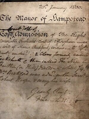 1800 Manor Of Hampstead A Special Court Baron Old Manuscript